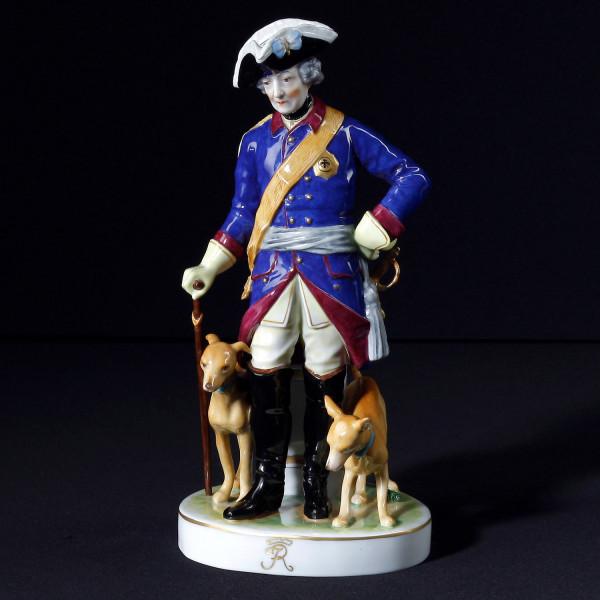 """Porzellanfigur """"Friedrich der Große mit Hunden"""""""