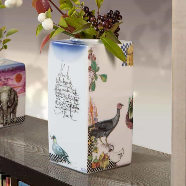 """Würfelvase """"Arkadien"""" rechteckig hoch von Gudrun Gaube, limitiert, aus glasiertem Porzellan"""
