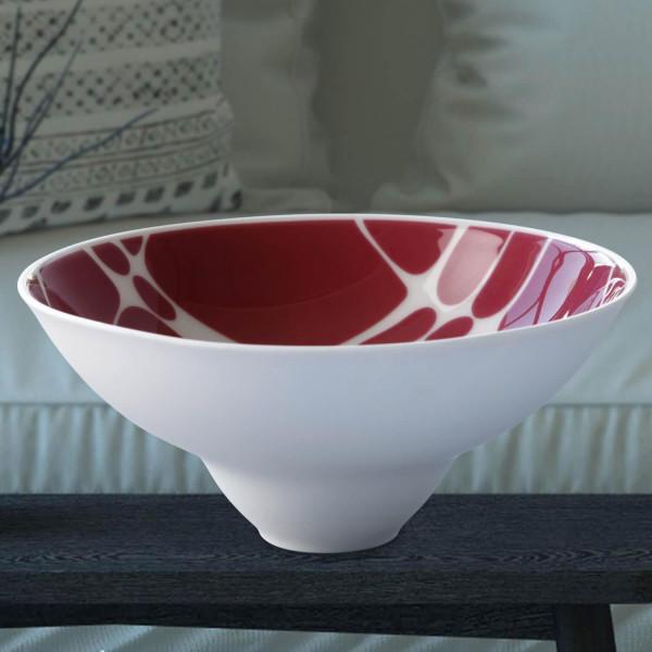 """Schale klein """"Merlot"""" teilweise aus glasiertem Porzellan, farbig dekoriert"""
