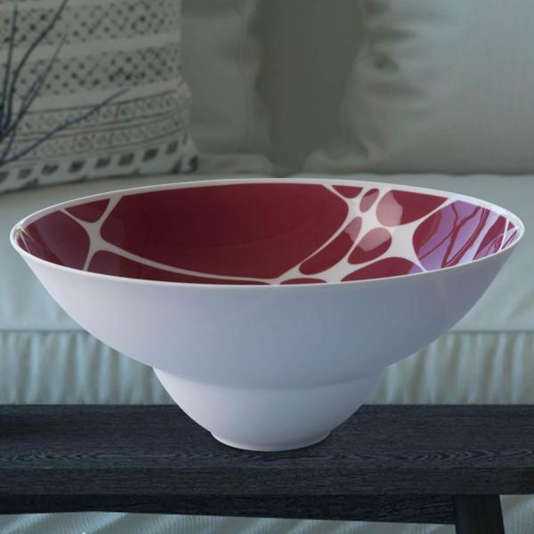 """Schale groß """"Merlot"""" teilweise aus glasiertem Porzellan, farbig dekoriert"""