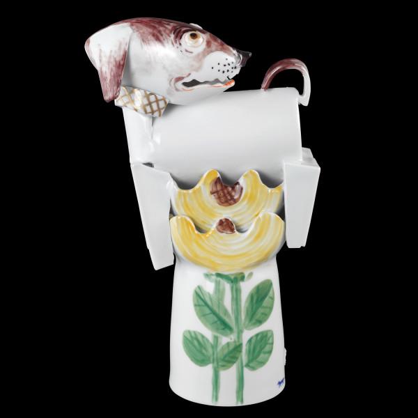 """Porzellanfigur """"Dackel im Sonnenblumenfeld"""" von Peter Strang - Skulptur aus glasiertem Porzellan"""