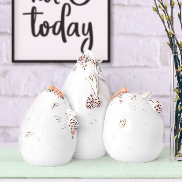 """Porzellanfiguren-Set """"Hahnenglück"""" von Kati Zorn - Hahn mit 2 Hennen - aus glasiertem Porzellan"""