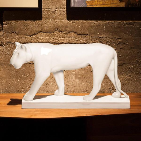"""Porzellanfigur """"Schreitende Löwin"""" von Gerhard Marcks, Weiß, ohne Limitierung, aus glasiertem Porzellan"""