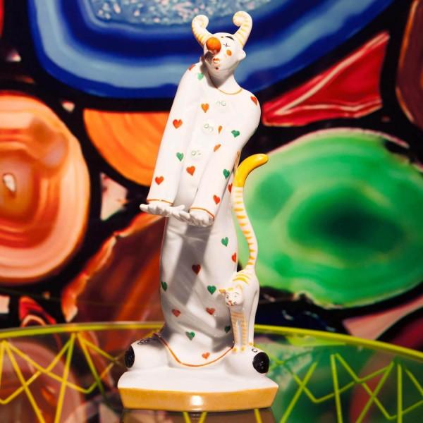 """Porzellanfigur """"Clown mit Katze"""" von Kati Zorn aus glasiertem Porzellan"""