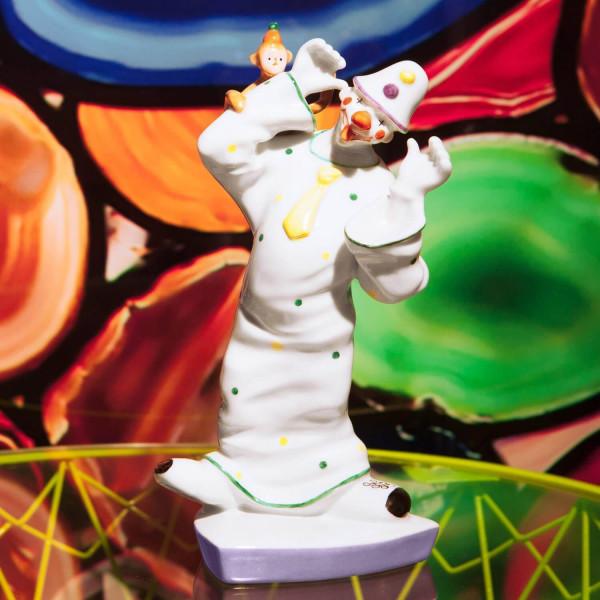 """Porzellanfigur """"Clown mit Affe"""" von Kati Zorn aus glasiertem Porzellan"""