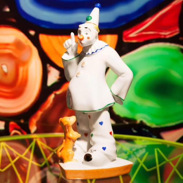 """Porzellanfigur """"Clown mit Hund"""" von Kati Zorn aus glasiertem Porzellan"""