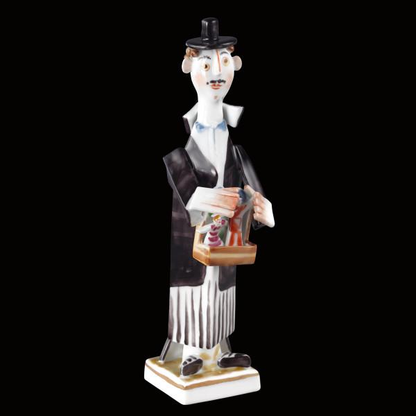 """Porzellanfigur """"Puppenspieler"""" aus glasiertem Porzellan, farbig dekoriert"""