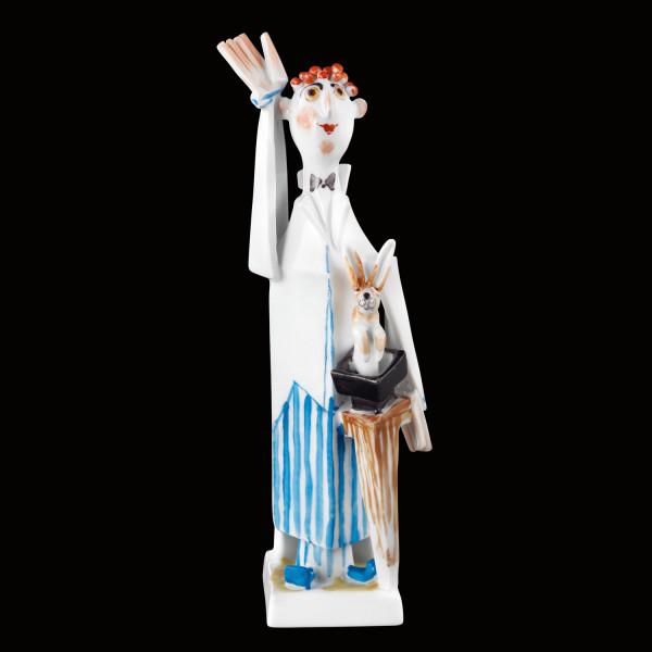 """Porzellanfigur """"Zauberer mit Hasen"""" aus glasiertem Porzellan, farbig dekoriert"""