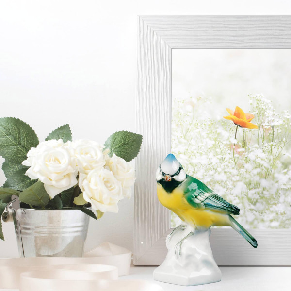 """Porzellanfigur """"Haubenmeise"""" aus glasiertem Porzellan, farbig dekoriert"""