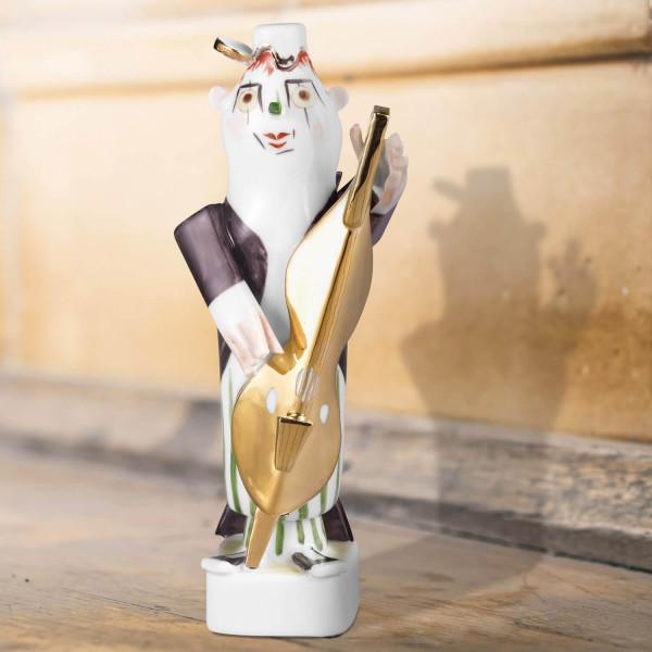 "Porzellanfigur Clownskapelle ""Baßgeige"" aus glasiertem Porzellan, farbig dekoriert"