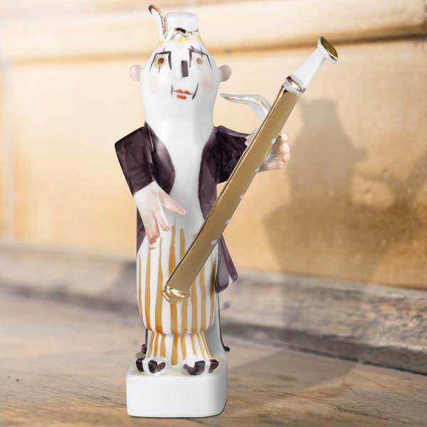 """Porzellanfigur Clownskapelle """"Fagott"""" aus glasiertem Porzellan, farbig dekoriert"""