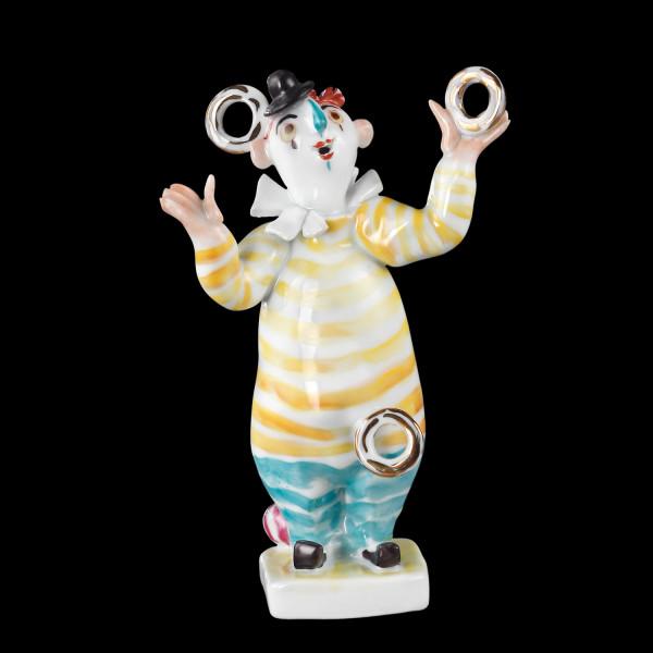 """Porzellanfigur """"Kleiner Clown mit Ringen"""" aus glasiertem Porzellan, farbig dekoriert"""