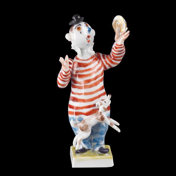 """Porzellanfigur """"Kleiner Clown mit Hund"""" aus glasiertem Porzellan, farbig dekoriert"""
