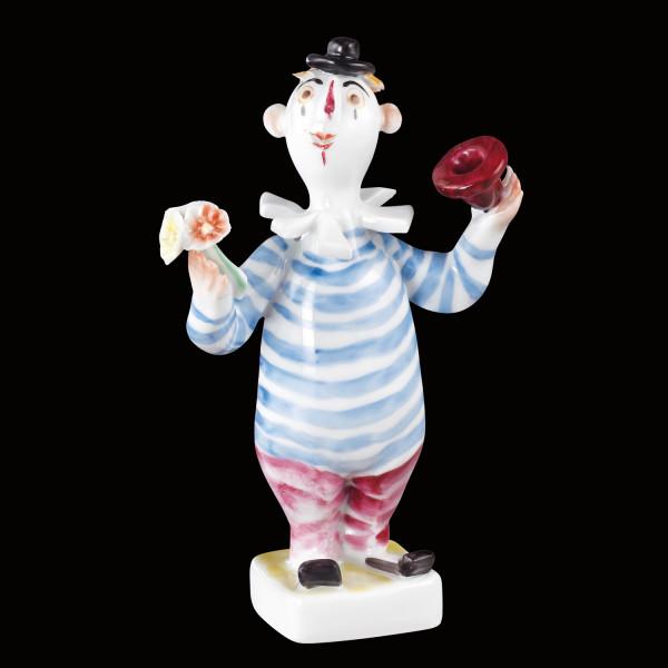 """Porzellanfigur """"Kleiner Clown mit Blümchen"""" aus glasiertem Porzellan, farbig dekoriert"""