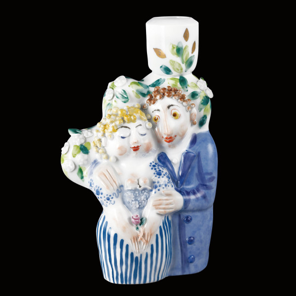 "Porzellanfigur ""Liebespaar I"" aus glasiertem Porzellan, farbig dekoriert"