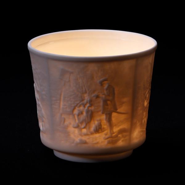 Teelicht mit Lithophanien aus Bisquitporzellan innen glasiert