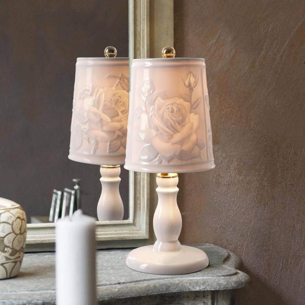 "Lithophanie-Leuchte ""Rose"" - glasierte Porzellanlampe mit Rosenmotiv"
