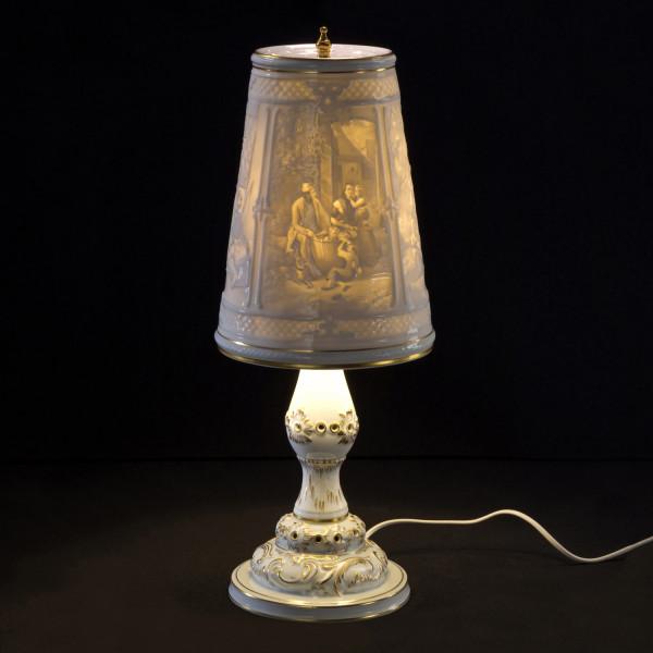"""Lithophanie-Leuchte, """"Motiv Familien"""" aus glasiertem Porzellan"""
