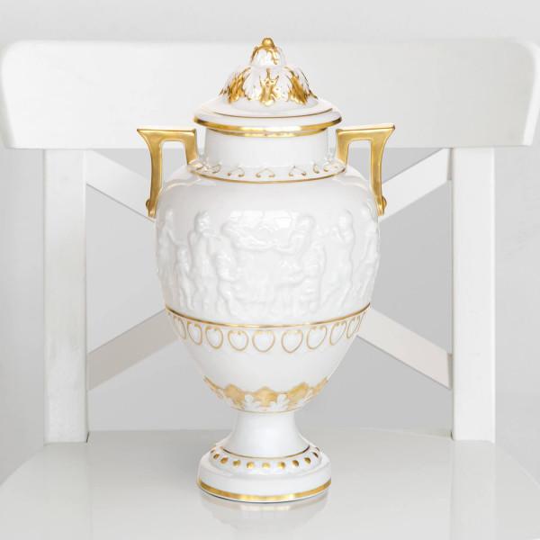 Vase aus glasiertem Porzellan, mit Gold dekoriert