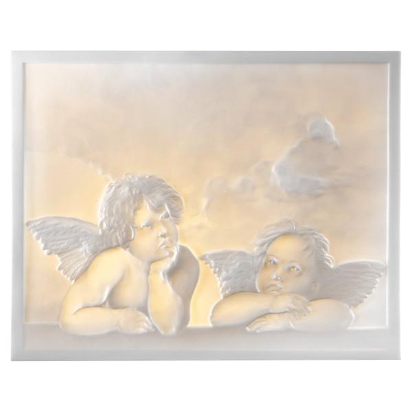 """Lithophanie-Platte """"Motiv Engel"""" aus Bisquitporzellan"""