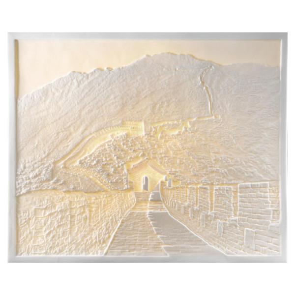 """Lithophanie-Platte """"Chinesische Mauer"""" aus feinem Bisquitporzellan"""