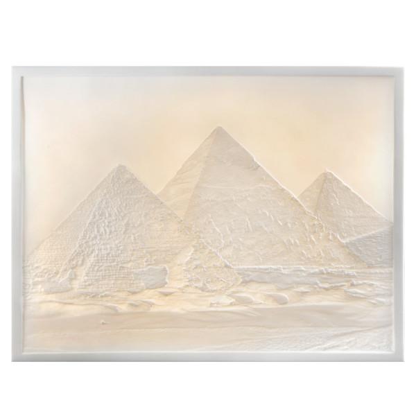 """Lithophanie-Platte """"Ägyptische Pyramiden"""" aus Bisquitporzellan"""