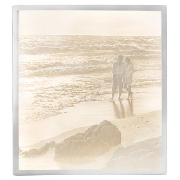 "Lithophanie-Platte ""Spaziergang am Strand"" aus Bisquitporzellan"