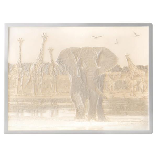 """Lithophanie-Platte """"Elefant-Afrika"""" aus Bisquitporzellan"""