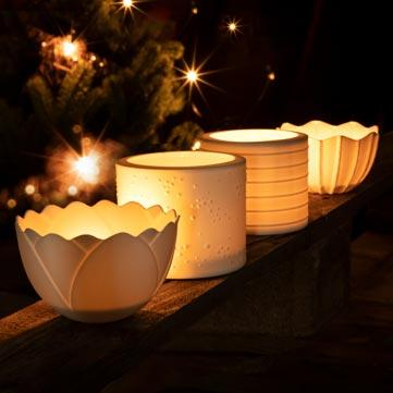 Windlichter aus Porzellan fürs Fest